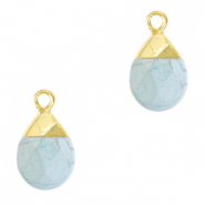 Natural stone charms Haze Blue-Gold