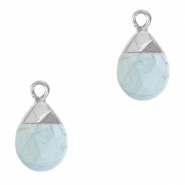 Natural stone charms Haze Blue-Silver