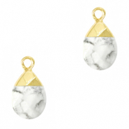 Natural stone charms White Marble-Gold