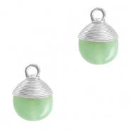 Natural stone charms wire wrapped Ocean Green-Silver