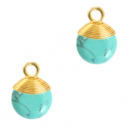 Natural stone charms wire wrapped Turquoise-Gold