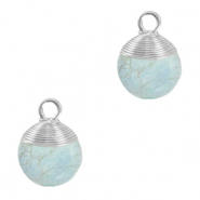 Natural stone charms wire wrapped Haze Blue-Silver