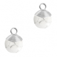 Natural stone charms wire wrapped White Marble-Silver