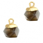 Natural stone charms hexagon Black Diamond-Gold