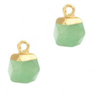 Natural stone charms hexagon Ocean Green-Gold