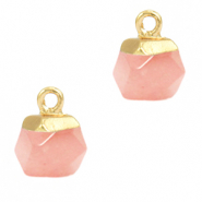 Natural stone charms hexagon Blossom Pink-Gold