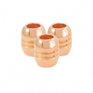 DQ European metal beads tube stripe Rose Gold (nickel free)