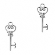 DQ European metal charms key Antique Silver (nickel free)
