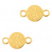 DQ European metal charms connector compass 9mm Gold (nickel free)