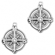 DQ European metal charms compass 18mm Antique Silver (nickel free)