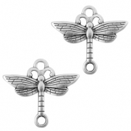 DQ European metal charms connector dragonfly Antique Silver (nickel free)