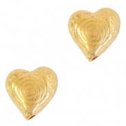 DQ European metal beads heart Gold (nickel free)