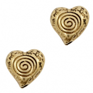 DQ European metal beads heart Antique Bronze (nickel free)