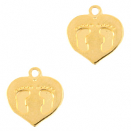 DQ European metal charms heart with foot print Gold (nickel free)