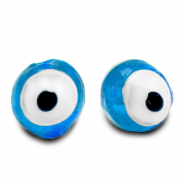 6 mm glass beads Evil Eye Sky Blue