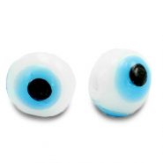 8 mm glass beads Evil Eye White