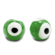 8 mm glass beads Evil Eye Classic Green
