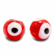 8 mm glass beads Evil Eye Red