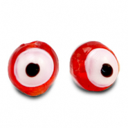 6 mm glass beads Evil Eye Red Orange
