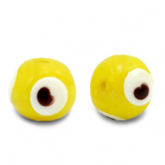 8 mm glass beads Evil Eye Yellow