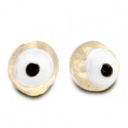 8 mm glass beads Evil Eye Off White
