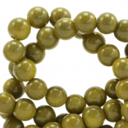 8 mm glass beads opaque Dusty Olive