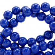 8 mm glass beads opaque Strong Blue