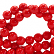 4 mm glass beads opaque Fiery Red
