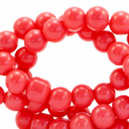 6 mm glass beads opaque Coral Red
