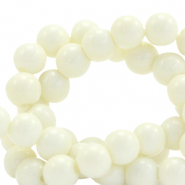 6 mm glass beads opaque Off White