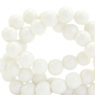 6 mm glass beads opaque White