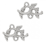 DQ European metal charms connector birds Antique Silver (nickel free)