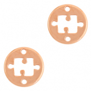 DQ European metal charms connector 15mm puzzle Rose Gold (nickel free)