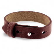 Cuoio bracelet leather 15 mm for 20 mm cabochon Burgundy Brown