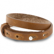 Cuoio bracelet leather 8 mm double for 12 mm cabochon Saddle Brown