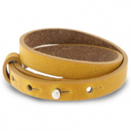 Cuoio bracelet leather 8 mm double for 12 mm cabochon Honey Yellow