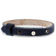 Cuoio bracelet leather 8 mm for 12 mm cabochon Indigo Blue