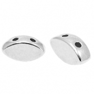 DQ European metal duo beads oval Antique Silver (nickel free)