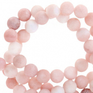 Semi-precious stone beads round 6mm sun stone matt Light Rose
