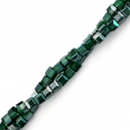 Top faceted beads cube 2x2mm Dark Forest Green-Pearl Shine Coating