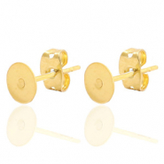 Stainless steel findings earrings for 7mm cabochon and SS34 flatback Gold