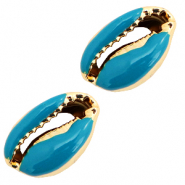 Shell beads specials Cowrie Half Mosaic Blue-Gold
