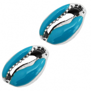 Shell beads specials Cowrie Half Mosaic Blue-Silver