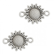 DQ European metal charms connector sunflower Antique Silver (nickel free)