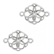 DQ European metal charms connector flower Antique Silver (nickel free)