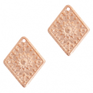 DQ European metal charms rhombus flower Rose Gold (nickel free)