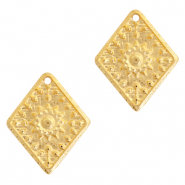 DQ European metal charms rhombus flower Gold (nickel free)