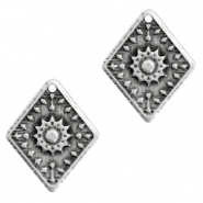 DQ European metal charms rhombus flower Antique Silver (nickel free)
