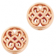 DQ European metal beads flower round 11mm Rose Gold (nickel free)