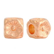 DQ European metal beads flower cube 5mm Rose Gold (nickel free)